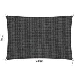 Shadow Comfort rechthoek 2x3m DuoColor Carbon Black