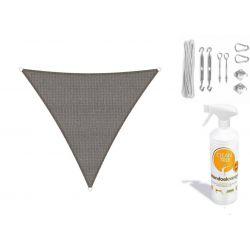 Compleet pakket: Sunfighters driehoek 3.6x3.6x3.6m Zwart met RVS Bevestigingsset en buitendoekreiniger