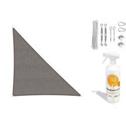 Compleet pakket: Sunfighters driehoek 3.5x4x4.5m Grijs met RVS Bevestigingsset en buitendoekreiniger
