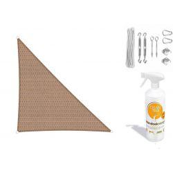Compleet pakket: Sunfighters driehoek 3.5x4x4.5m Zand met RVS Bevestigingsset en buitendoekreiniger