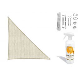 Compleet pakket: Sunfighters driehoek 3.5x4x4.5m Ivoor met RVS Bevestigingsset en buitendoekreiniger