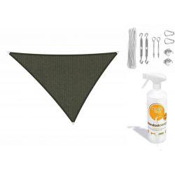 Compleet pakket: Shadow Comfort driehoek 4x5x5,4 Deep Grey met RVS Bevestigingsset en buitendoekreiniger